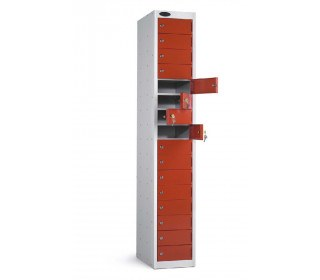 Probe 16 Door Personal Effects Combination Locking Locker red doors open