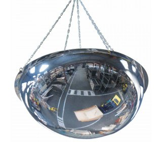 Wide Angle Ceiling Dome Convex Mirror - Vialux 80cm - showing chain fixing