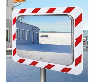 Vialux 858-AB Frost-Free Stainless Steel Traffic Mirror 800x600 on post