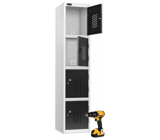 Probe Recharge 4 Door Power Tool Charging Steel Storage Locker - Black