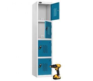 Probe Recharge 4 Door Power Tool Charging Steel Storage Locker - Blue
