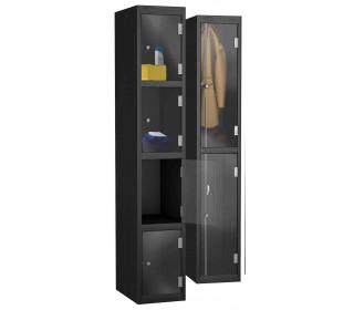 Probe 4 Door Electronic Locking Clear Vision Anti-Theft Lockers - Black Body