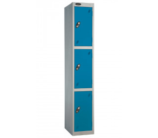 Probe 3 Door Back Pack Size Storage Locker Key Lock blue doors and silver body