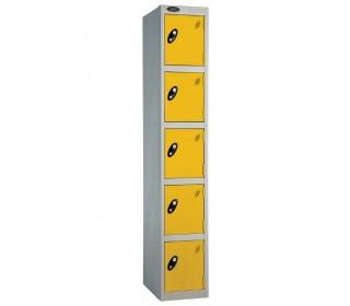 Probe 5 Door Personal Storage Steel Locker Key Locking yellow doors and silver body
