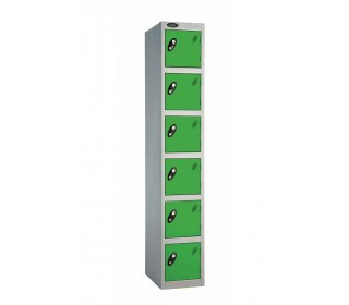 Probe 6 Door Key Locking Personal Storage Steel Lockergreen doors and silver body