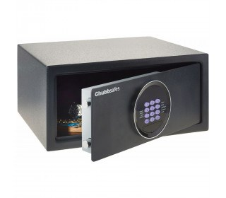 Chubbsafes Air Hotel Door slightly open safe comes with emergency override key