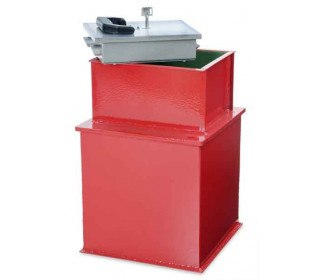 """Burton Watchman 12"""" square floor safe showing the rectangular door which allows easier access than a round door"""