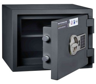 Burton Home Safe 1E Eurograde 0 £6,000 Rated Fire Security Safe - door ajar