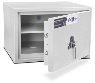 Burton Aver 2K Insurance Approved Key Locking Security Safe - door ajar