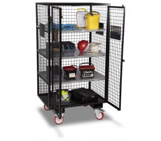 Armorgard FittingStor FC6 Wire Mesh Mobile Storage Cage in use