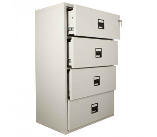 FireKing Lateral 4 Drawer Fire Filing Cabinet with three drawers shown slightly open