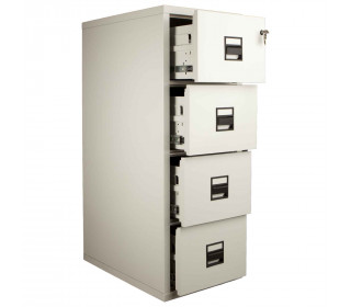 FireKing Vertical 4 Drawer Fire Filing Cabinet with drawers shown slightly open