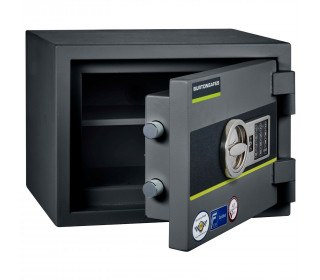 Burton Home Safe Size 1E in Graphite with a Digital Lock, shown slightly open