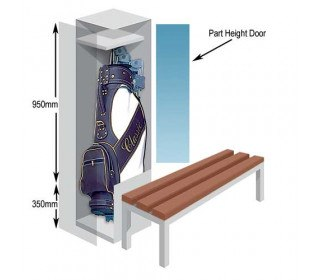 Probe Type B Golf Bag Locker that allows an optional bench seat to be used