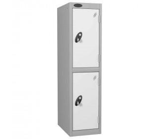 Probe Low 2 Door Steel Locker with Padlock Latch Hasp Lock white door