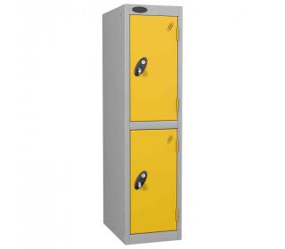 Probe Low Height 2 Door Steel Key Locking Storage Locker Yellow doors and silver body