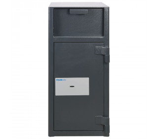 Chubbsafes Omega Deposit Safe with  large deposit entry  on the front above the door. Door is shown closed