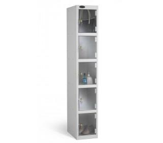 Probe 5 Door Electronic Locking Clear Vision Anti-Theft Locker silver grey