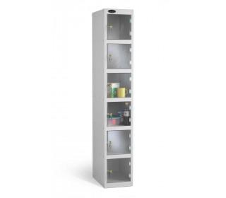 Probe 6 Door Electronic Locking Clear Vision Anti-Theft Locker silver grey