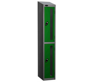 Probe Vision Panel 2 Door Key Locking Anti-Stock Theft Locker sloping top fitted gren