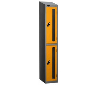 Probe Vision Panel 2 Door Combination Locking Anti-Stock Theft Locker sloping top fitted yellow