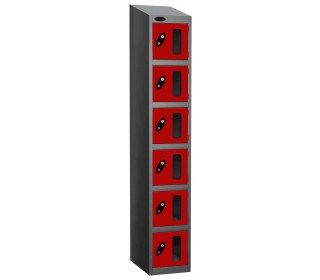 Probe Vision Panel 6 Door Electronic Locking Anti-Stock Theft Locker sloping top fitted red