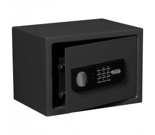 Protector Sirius 250E showing safe door open with twin live locking bolts with electronic lock and handle