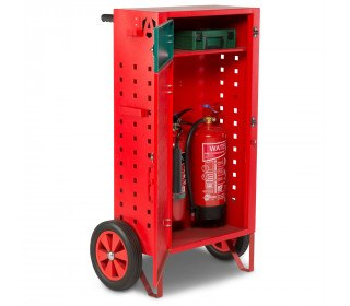 Mobile Fire First Aid Incident Cabinet - Armorgard Safety Kart - open