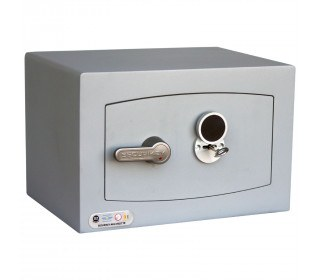 Key Security Safe - Securikey Mini Vault Gold FR 0K - door closed with key inserted