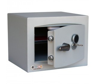Securikey SFMV1FRK-G Mini Vault Gold Key Lock Security Safe - door ajar with key inserted