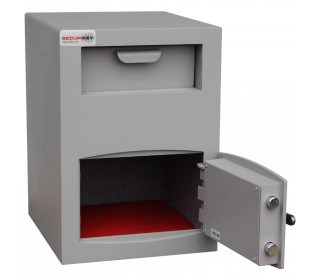 Securikey Mini Vault Silver Deposit Safe 2 Key Lock deposit - safe door open