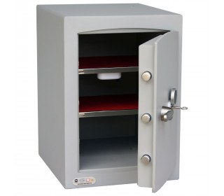 Key Lock Security Safe - Securikey Mini Vault Silver 2K - door ajar