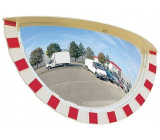 Vialux 9180 Extra Wide Angle Convex Traffic Mirror Red-White Polymir 80x40cm