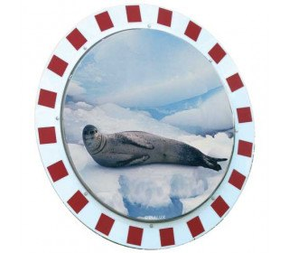 Vialux 886-AB Frost-Free Convex Stainless Steel Mirror 1000mm