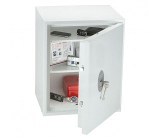 Phoenix Fortress Security Safe SS1183K Door Ajar showing Key Lock with Keys in lock