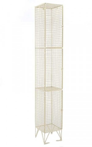 Cream Wire Mesh Locker 3 Door 305x305 Single