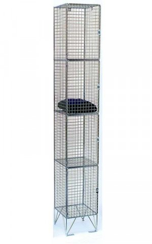 Bright Zinc Wire Mesh Locker 4 Door 305x305 Single