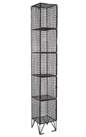 Black Wire Mesh Locker 5 Door 305x305 Single
