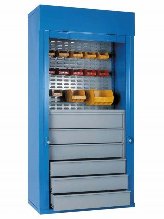 Steel Roller Shutter Cab 6 Drawers 1/2 louvre 1 shelf 200x100x50 - Bedford 90215D