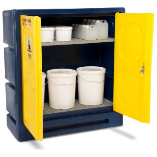 Armorgard CHEMCUBE CCC3 Plastic COSHH Cabinet open with chemicals stored
