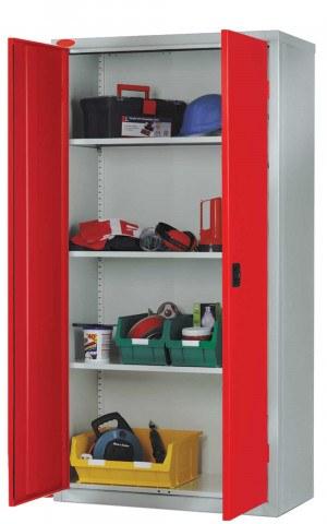 Probe High Double Door Steel Storage Cabinet 915x460 - red doors