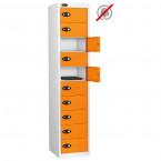 Probe 10 Door Electronic Locking Personal Storage Steel Locker Orange Doors