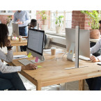 Vialux 150HGP Securit® Safety Glass Screen Divider 680mm in use on a desk