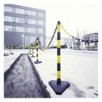 Guarda Set of 6 Yellow/Black Chain Posts 10m Concrete Base outdoors