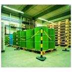 Guarda Set of 6 Yellow/Black Chain Posts 10m Concrete Base indoors