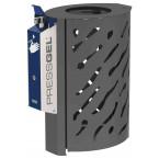 PRESSGEL™ Sanitiser Wall Fixed Hand Gel Dispenser Holder fitted to a bin