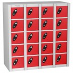 Probe MINIBOX 20 Door Electronic Locking Stacking Locker Red