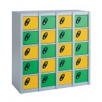 Probe Minibox 20 showing a unit using 2 colour doors alternately in green and yellow