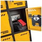 Door Open on a Defender Battery Bank Power Tool Charging Locker