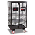 Armorgard FittingStor FC6 Wire Mesh Mobile Storage Cage empty and door closed